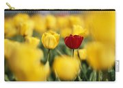 Single Red Tulip Among Yellow Tulips Carry-all Pouch