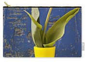 Single Yellow Tulip In Yellow Vase Carry-all Pouch