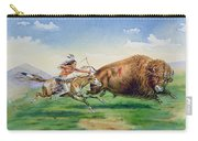 Sioux Hunting Buffalo On Decorated Pony Carry-all Pouch