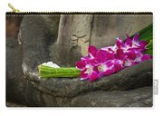 Sitting Buddha In Meditation Position With Fresh Orchid Flowers Carry-all Pouch