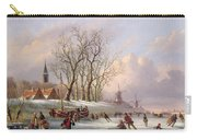 Skaters On A Frozen River Before Windmills Carry-all Pouch