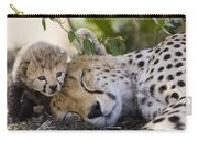 Sleeping Cheetah And Cub Kenya Carry-all Pouch
