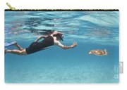 Snorkeler Photographing Green Turtle Carry-all Pouch