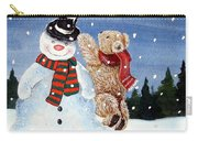 Snowman In Top Hat Carry-all Pouch by Gordon Lavender