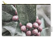 Snowy Holly Christmas Card Carry-all Pouch