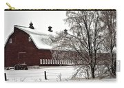 Snowy Red Barn Carry-all Pouch