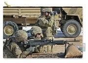 Soldier Firing A M240b Machine Gun Carry-all Pouch