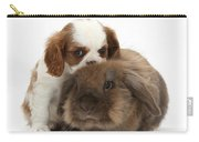 Spaniel Puppy And Rabbit Carry-all Pouch