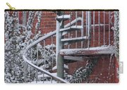 Spiral Staircase With Snow And Cooper's Hawk Carry-all Pouch