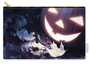 Spooky Jack-o-lantern On Fallen Leaves Carry-all Pouch