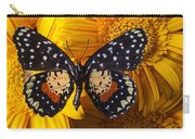 Spotted Butterfly On Yellow Mums Carry-all Pouch