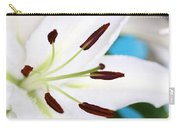 Square Lily On Blue Carry-all Pouch