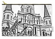 St Louis Cathedral Rising Above Palms Jackson Square New Orleans Photocopy Digital Art Carry-all Pouch