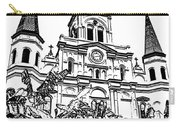St Louis Cathedral Rising Above Palms Jackson Square New Orleans Stamp Digital Art Carry-all Pouch