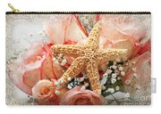 Starfish And Pink Roses Carry-all Pouch