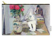 Statuette By Maillol And Red Roses Carry-all Pouch