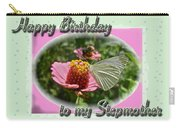 Stepmother Birthday Greeting Card - Butterfly On Flower Carry-all Pouch