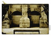 Stone Face - Limestone Windows Column And Bank Create A Misterious Face Carry-all Pouch