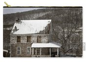 Stone Farmhouse In Snow Carry-all Pouch by John Stephens