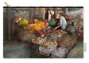 Storefront - Hoboken Nj - Picking Out Fresh Fruit Carry-all Pouch by Mike Savad