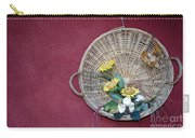 Straw Basket With Flowers Carry-all Pouch