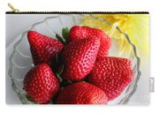Strawberries And Yellow Mum Carry-all Pouch by Barbara Griffin