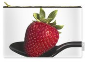 Strawberry On A Black Spoon Against White No.0003 Carry-all Pouch