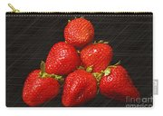 Strawberry Pyramid On Black Carry-all Pouch by Andee Design