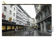 Street In Lucerne With Cycles And Rain Carry-all Pouch