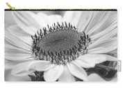 Sunflower Bloom Black And White Carry-all Pouch