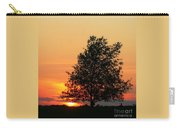 Square Photograph Of A Fiery Orange Sunset And Tree Silhouette Carry-all Pouch