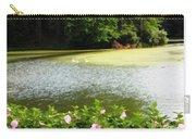 Swans On Pond And Hibiscus With Oil Painting Effect Carry-all Pouch