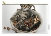 Tabby Kitten In Potpourri Basket Carry-all Pouch
