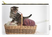 Tabby Kitten Playing With Knitting Wool Carry-all Pouch