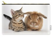 Tabby Kitten With Rabbit Carry-all Pouch
