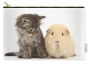 Tabby Kitten With Yellow Guinea Pig Carry-all Pouch