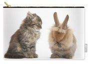 Tabby Kitten With Young Rabbit, Grooming Carry-all Pouch