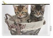 Tabby Kittens In A Basket Carry-all Pouch