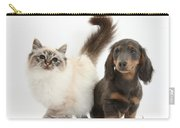 Tabby-point Birman And Dachshund Pup Carry-all Pouch