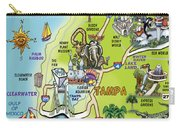 Tampa Florida Cartoon Map Carry-all Pouch