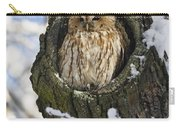Tawny Owl Strix Aluco In Nest Hole Carry-all Pouch