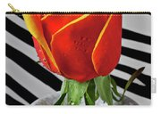 Tea Rose In Striped Vase Carry-all Pouch