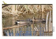 Teal Swiming Along Cattails Carry-all Pouch