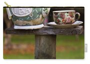 Teapot And Tea Cup On Old Post Carry-all Pouch