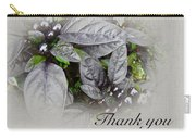 Thank You Card - Silver Leaves And Berries Carry-all Pouch
