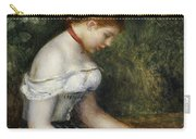 The Reader A Seated Young Girl  Carry-all Pouch by Pierre Auguste Renoir