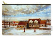 The Schoolhouse Winter Morning Quebec Rural Landscape Carry-all Pouch