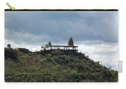 The Structure Of An Abandoned Temple On The Top Of A Green Covered Hill With Blue And White Clouds I Carry-all Pouch