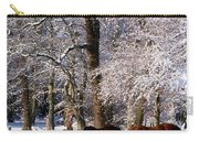 Thoroughbred Horses, Mares In Snow Carry-all Pouch