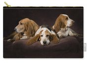 Three Basset Hound On Brown Muslin Carry-all Pouch